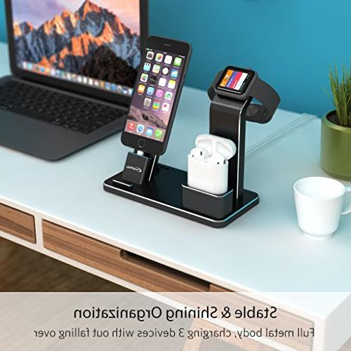 YoFeW Stand for Apple Charging Holder Compatible for iWatch Apple Watch Series 4/3 2/1/ AirPods/iPhone /8 / 8Plus 7/7 /6S Plus