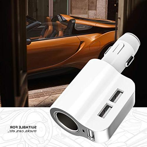 Car Charger Adapter Universal 12/24V Adapter Cigarette Lighter 3 USB Extra Fuse Compatible with Mp3