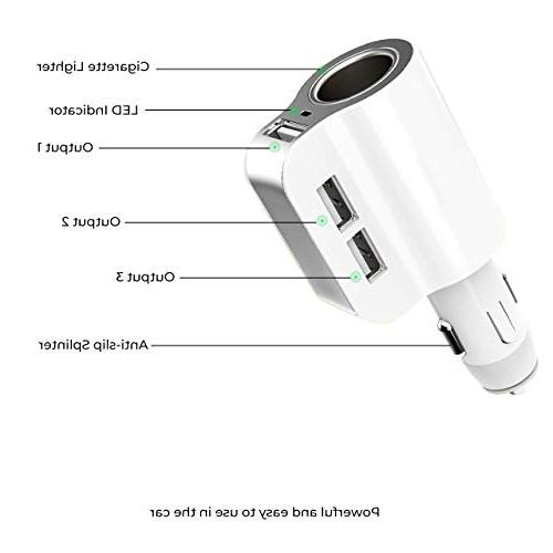 Car Charger 12/24V Adapter Cigarette Lighter Splitter Extra Compatible with iPhone Android Smartphone Mp3 Player