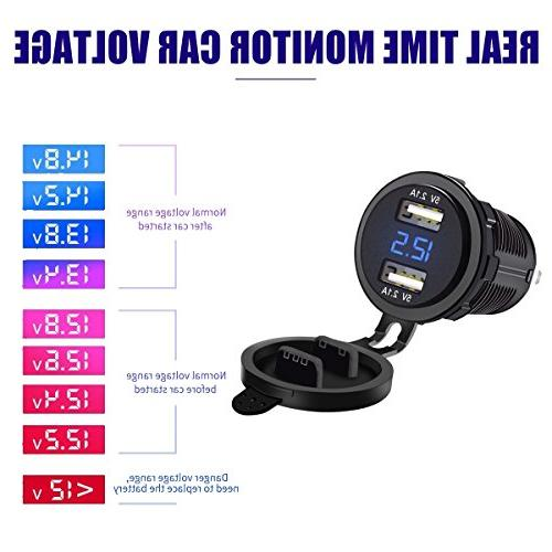 LiDiVi Waterproof Dual Charger Power 2.1A & 2.1A with Digital Voltmeter Blue LED Light Car Boat