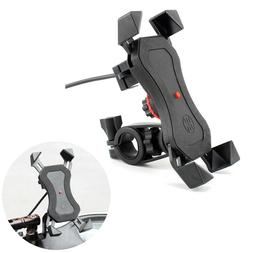 Universal Motorcycle Bicycle Mobile Phone Holder w/ USB Char